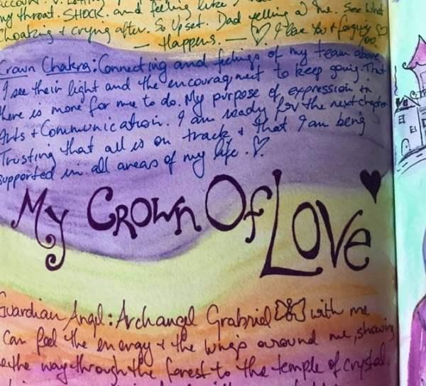 crown of love art workshop journaling