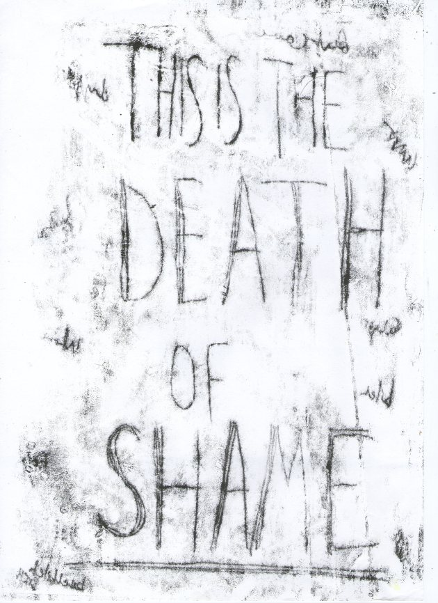 The death of shame mono print by michelle morgan