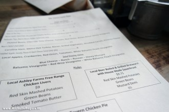 The tavern's menu features local specialties freshly prepared.