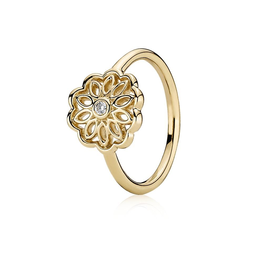 Pandora Gold Ring with Diamond Flower 150168D