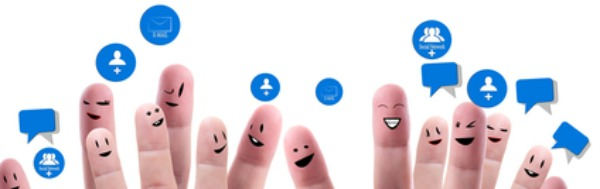 Social network concept of Happy group of finger faces  with speech bubbles