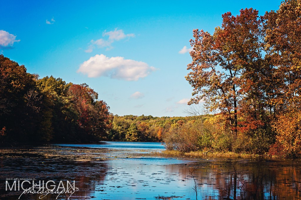 Fall color surrounds Holly Rec Area's Wildwood Lake