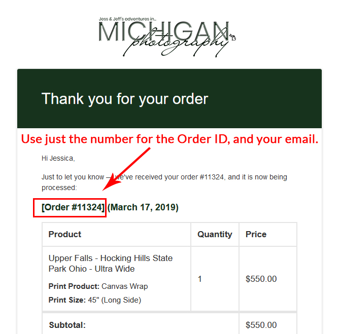 How to find your Michigan Photography order ID#