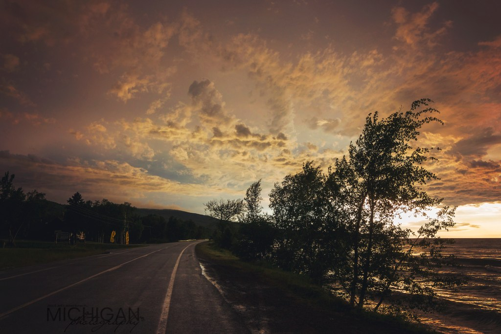 Sunset behind the Porcupine Mountains