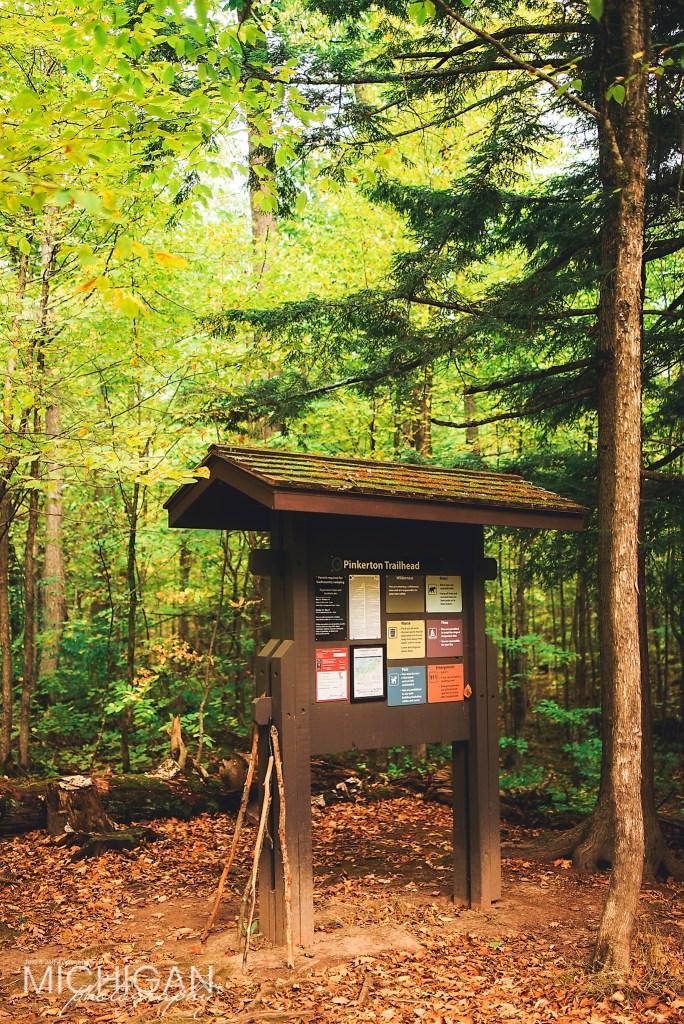 Pinkerton Trailhead Marker in the Porcupine Mountains Wilderness.