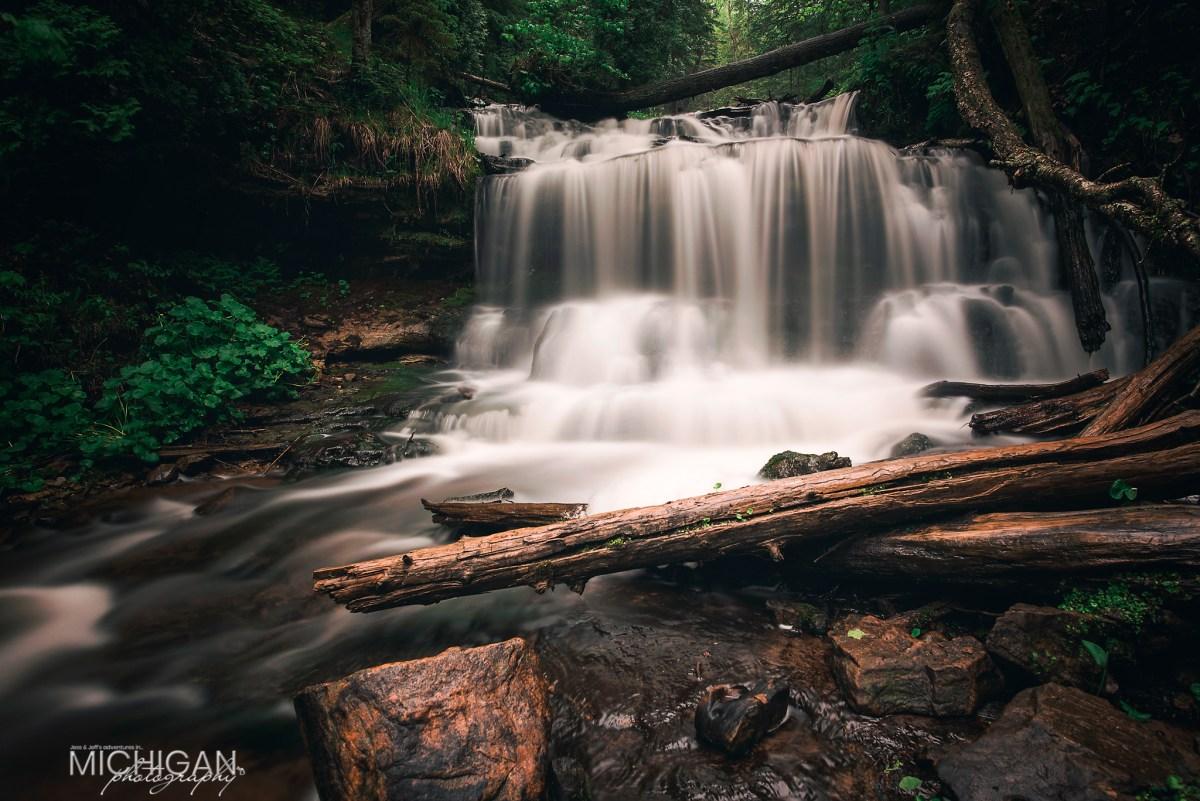 A closeup of Wagner Falls in Munising
