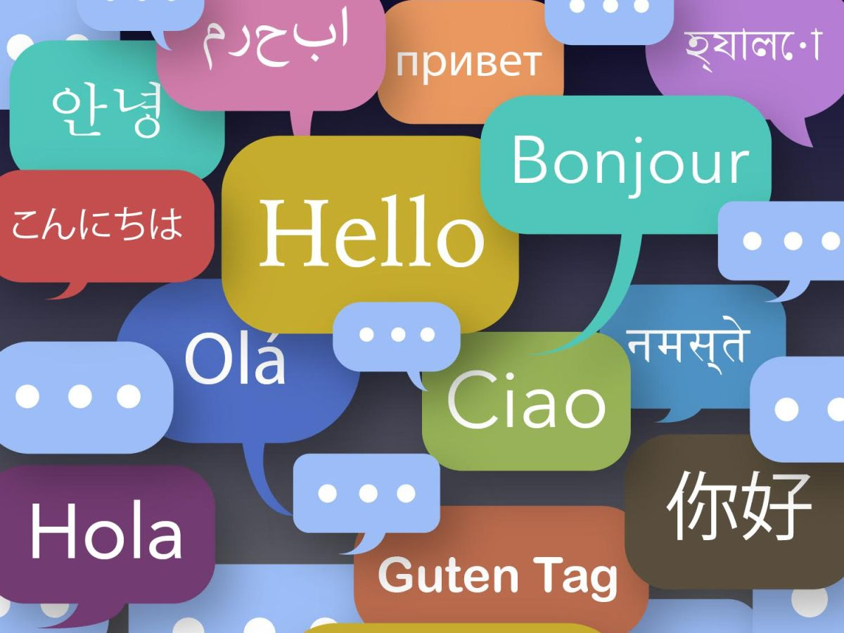 Text boxes of 'hello' in different languages.