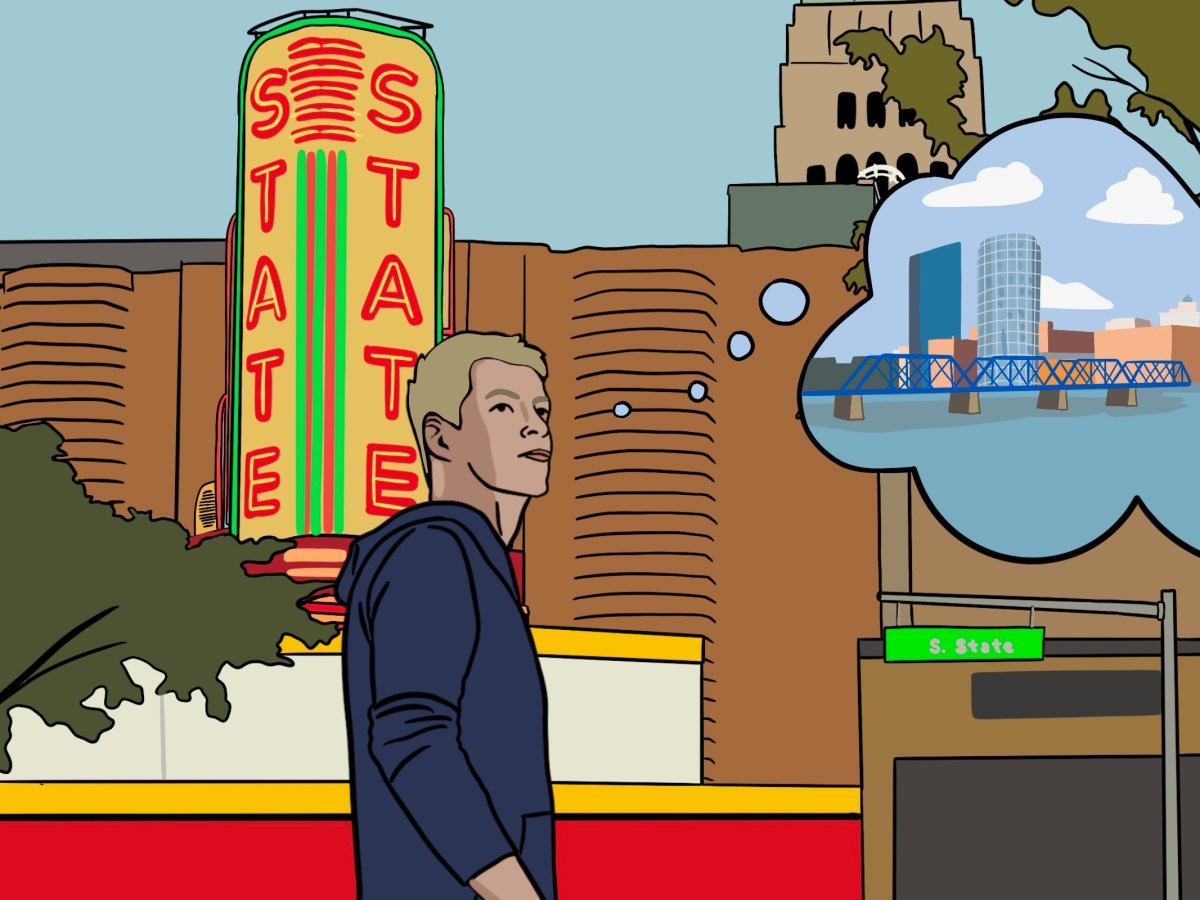 A college-aged man walking in front of State St Theatre, daydreaming about his hometown.
