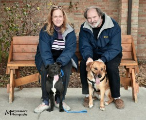 Holiday (left) with her new family.