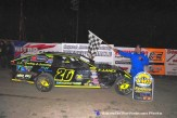 A.J. Ward won the IMCA Modified feature April 18th, 2015 at Crystal Motor Speedway. (Big V / RacesOnTheWeb.com Photo)