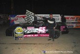 Joel Field won the street stock feature Saturday April 18, 2015 at Crystal Motor Speedway. (Big V / RacesOnTheWeb.com Photo)