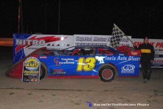 Scott Baker in victory lane following his victory on Saturday April 18, 2015 at Crystal Motor Speedway. (Big V / RacesOnTheWeb.com Photo)