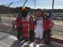 Mascots from Berlin Raceway and the Grand Rapids Drive on hand Saturday at Berlin Raceway. (Tom DeVette Photo)