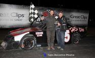 Weston Jewett won the Sportsman feature on Saturday April 18, 2015 at Berlin Raceway. (Tom DeVette Photo)