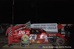 Johnny DeYoung, Jr. won the IMCA modified feature Saturday night at Crystal Motor Speedway. (ROTW / Aaron Ridgeway Photo)