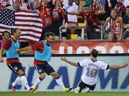 Landon Donovan celebrates goal Sept. 10, 2013 Getty Images