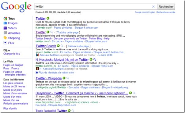 Capture d'ecran d'une recherche sur le mot clé Twitter