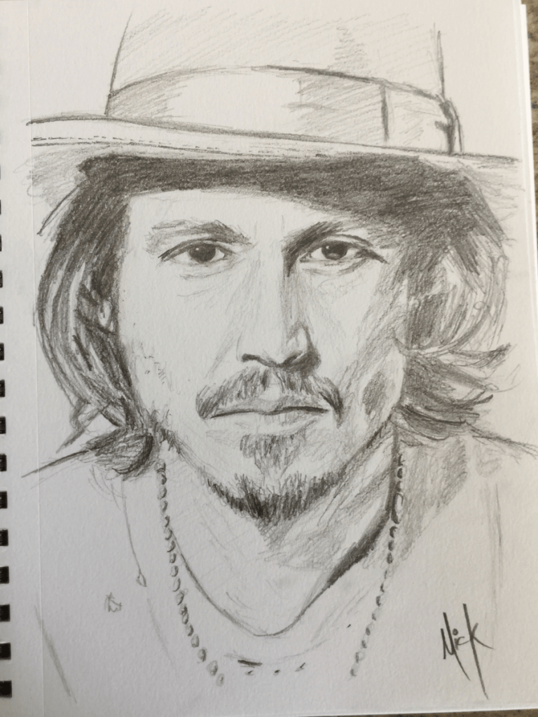Pencil sketch of Johnny Depp