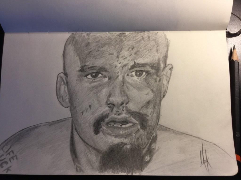 A pencil sketch portrait of GG Allin