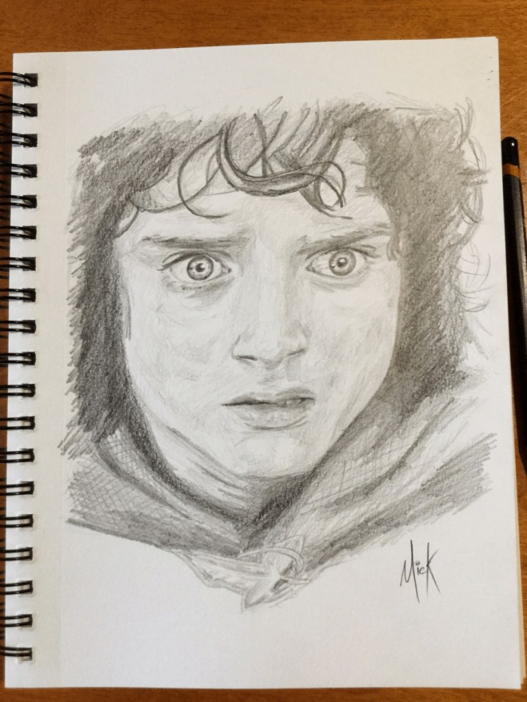 A pencil sketch portrait of Frodo Baggins from Lord of the Rings, as portrayed by Elijah Wood