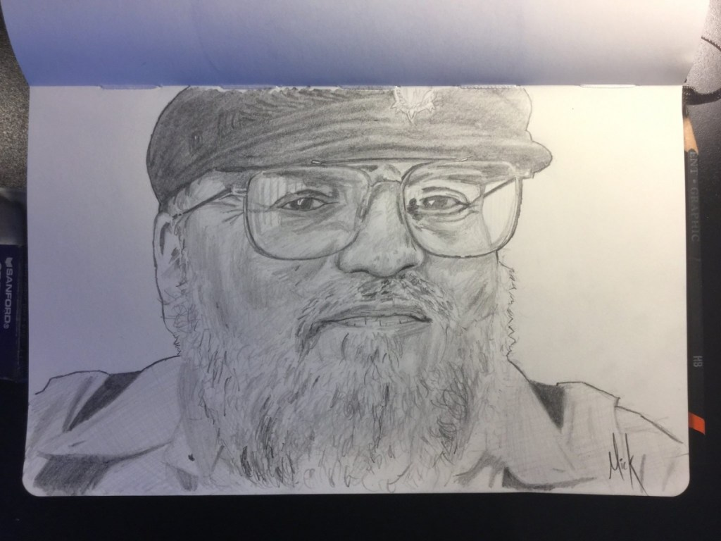 A pencil sketch portrait of George R.R. Martin