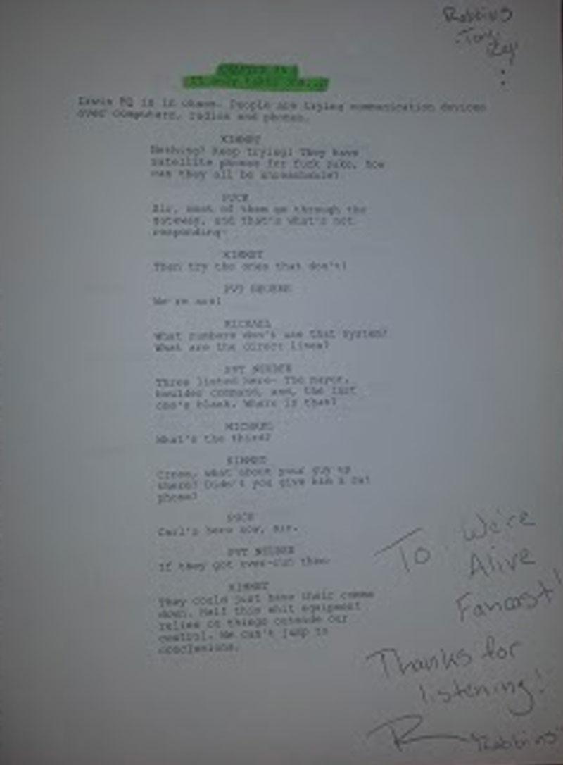 Tony Rey's script from We're Alive