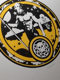 Poseidon a screenprint by artist Michael Statham