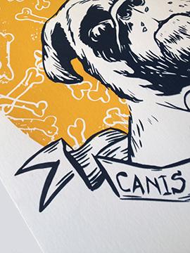 Vinnie the pug a screenprint by artist Michael Statham