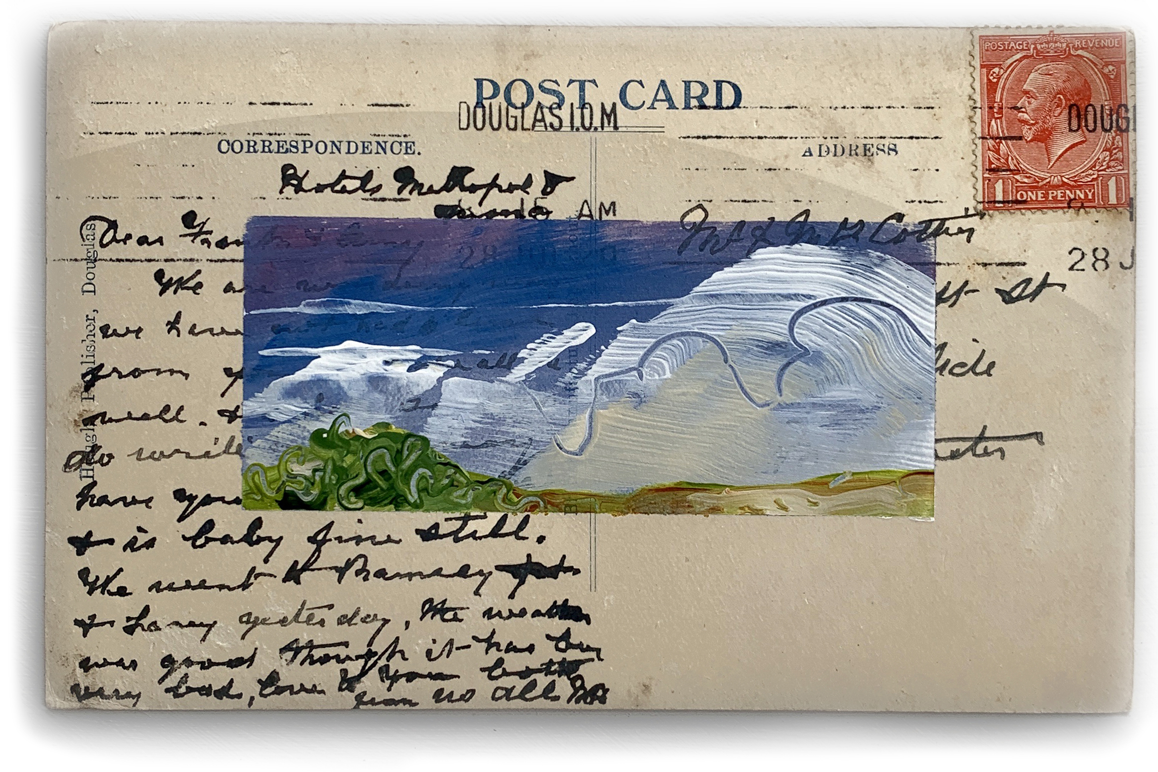 Antique abstract landscape on postcard by artist Micheal Statham