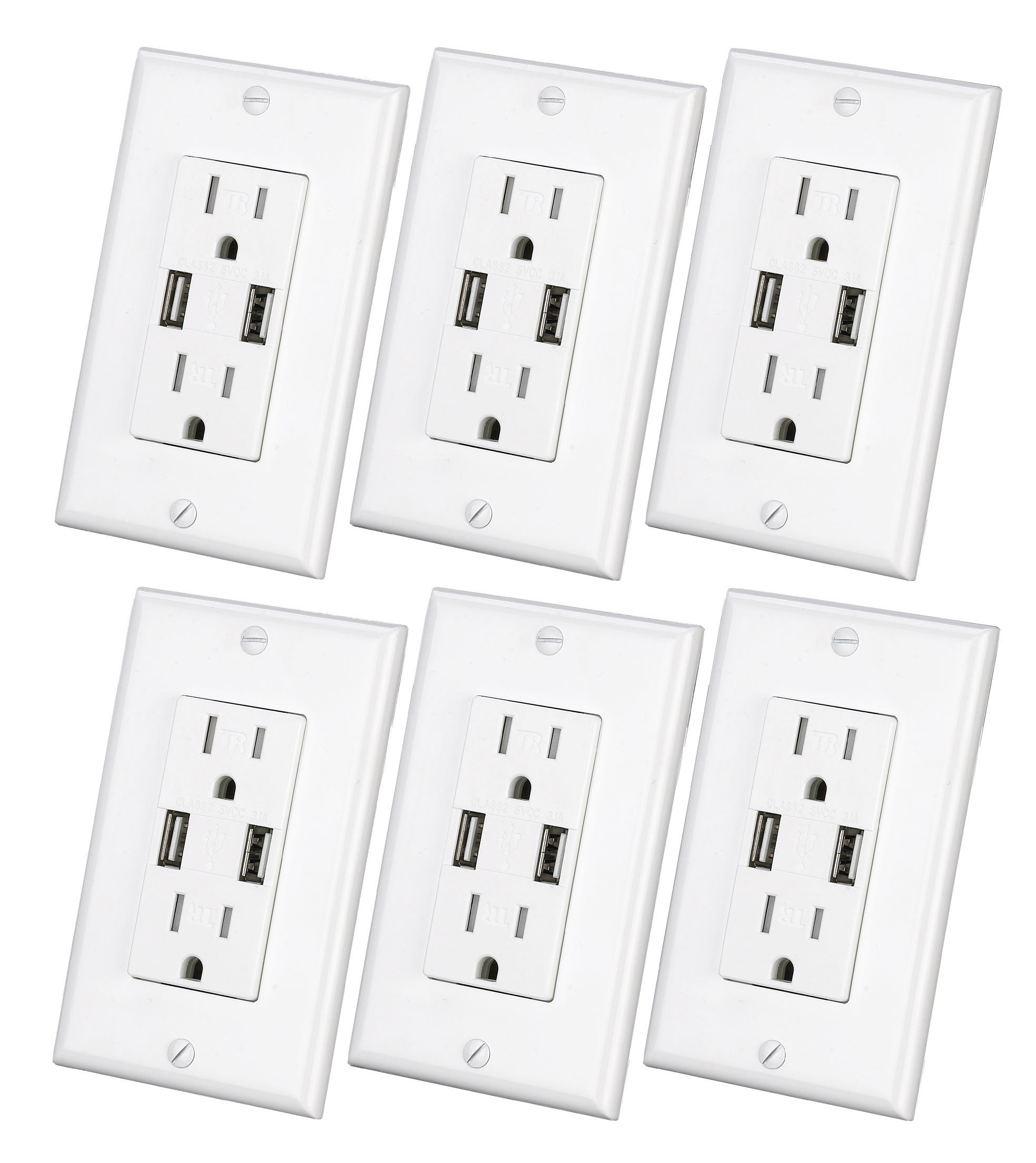 3 1a Usb Wall Outlet 6pack