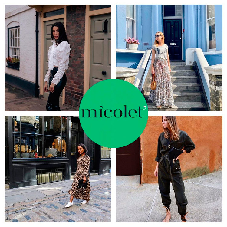 Four fashion influencers UK in a collage with Micolet's logo on it