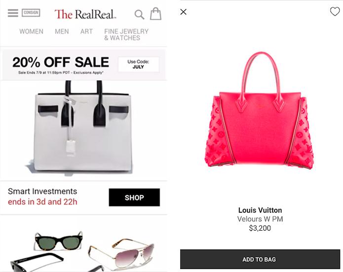 TheRealReal es una de las apps para vender ropa online de marcas de lujo.