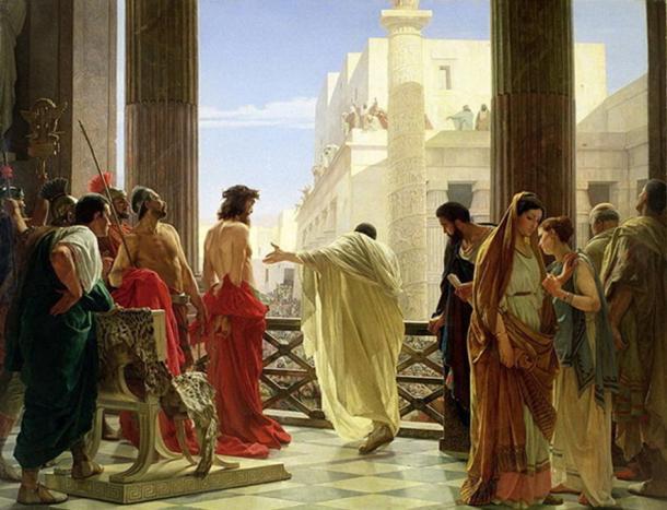 Ecco Homo (He aquí, el hombre) de Antonio Ciseri muestra a Pontius Pilot presentando a Jesús a las masas. ( Dominio público )