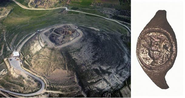 El anillo (derecha) fue encontrado en las excavaciones de la fortaleza de Herodes hace 50 años. (Izquierda; Dominio público . Derecha; C. Amit, a través de la Universidad Hebrea)