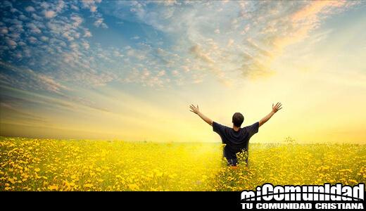 Hay una persona con sus manos abiertas mirando hacia el cielo en un campo abierto
