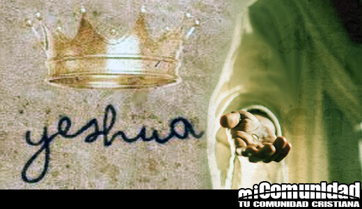 In the photo we see a crown with the words YESHUA and Jesus with his hand outstretched