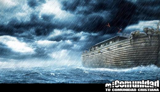 Imagen muestra el mar an caos con ;a barca de Noe
