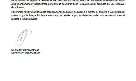 CIDH manifiesta preocupación ante el abuso y violencia del gobierno de Moreno