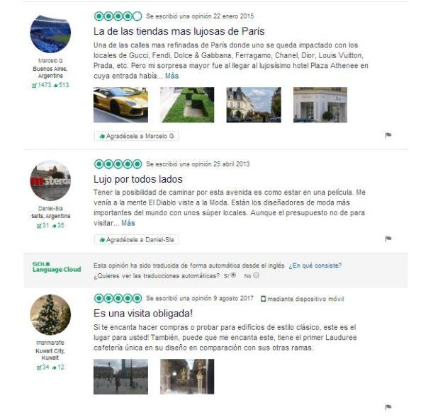 Avenue Montaigne Opiniones