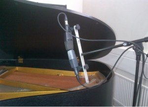 Two condeners combined to mic a grand piano