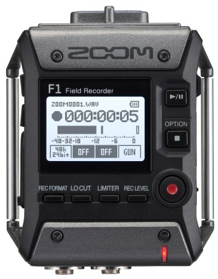 The Zoom F1 recorder up close