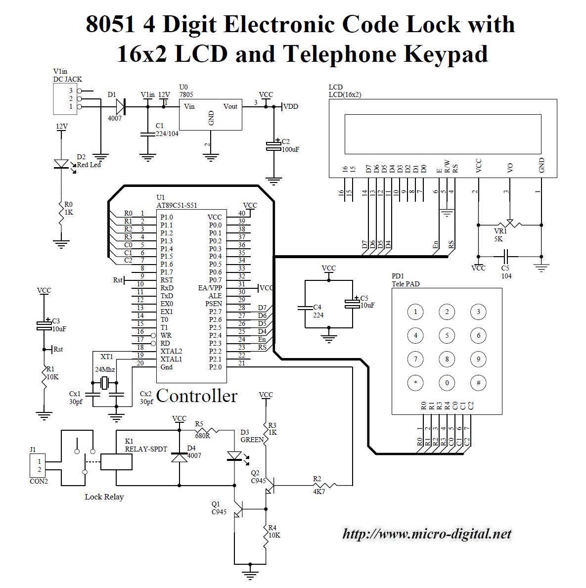 electronic number lock circuit diagram mercruiser wiring 7 4 8051 digit code with lcd and keypad