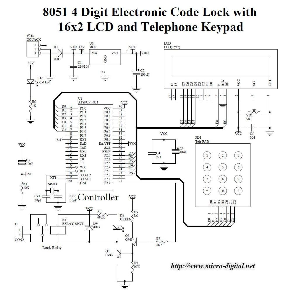 medium resolution of 8051 4 digit electronic code lock with lcd