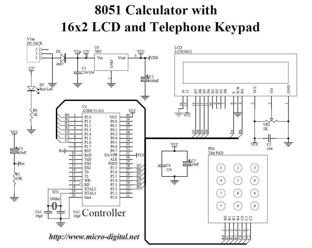 medium resolution of 8051 calculator with 16x2 lcd and telephone keypad