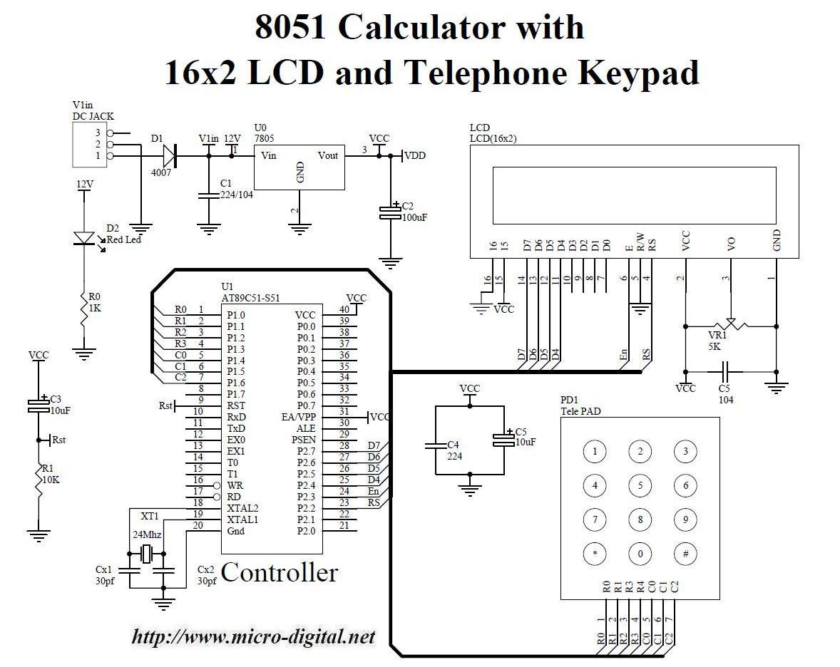 hight resolution of 8051 calculator with 16x2 lcd and telephone keypad