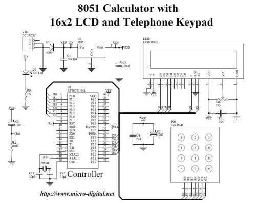 small resolution of 8051 calculator with 16x2 lcd and telephone keypad