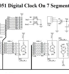 8051 digital clock on 7 segment non multiplexed  [ 1473 x 650 Pixel ]
