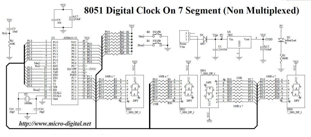 medium resolution of 8051 digital clock on 7 segment non multiplexed