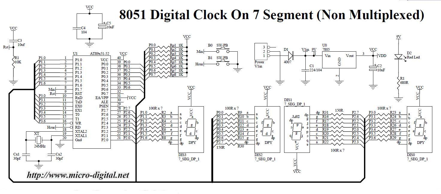 hight resolution of 8051 digital clock on 7 segment non multiplexed