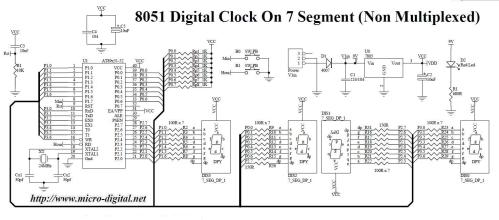 small resolution of 8051 digital clock on 7 segment non multiplexed
